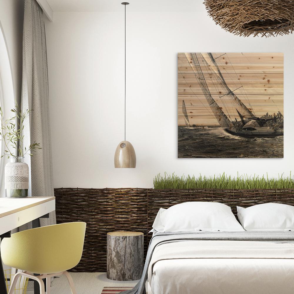 """40 in. x 40 in. """"Regatta"""" Arte de Legno Digital Print on Solid Wood Wall Art"""