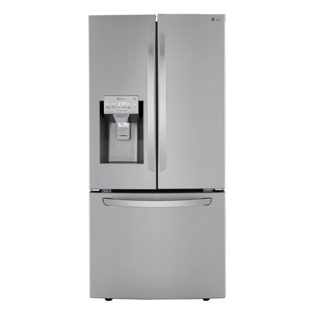 Lg Electronics 24 50 Cu Ft 3 Door French Door Refrigerator In Printproof Stainless With Ice And Water Dispenser And Slim Door Ice Lrfxs2503s The Home Depot