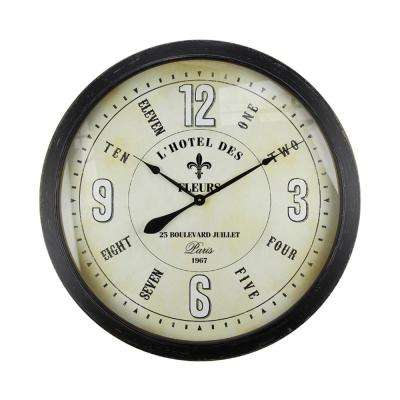 Fleur Village Distressed Brown Oversized Wall Clock