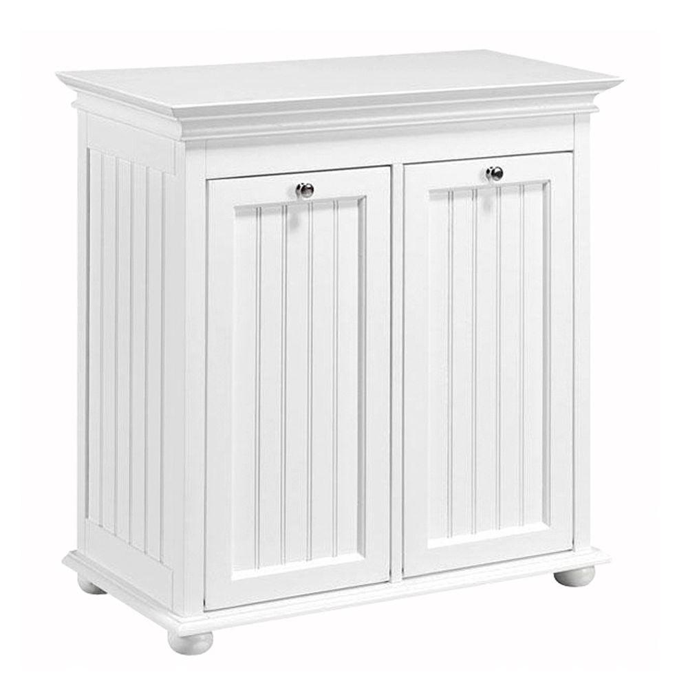 W Double Tilt Out Beadboard Hamper In White