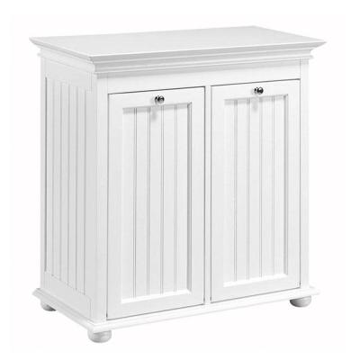 Hampton Harbor 26 in. W Double Tilt-Out Beadboard Hamper in White