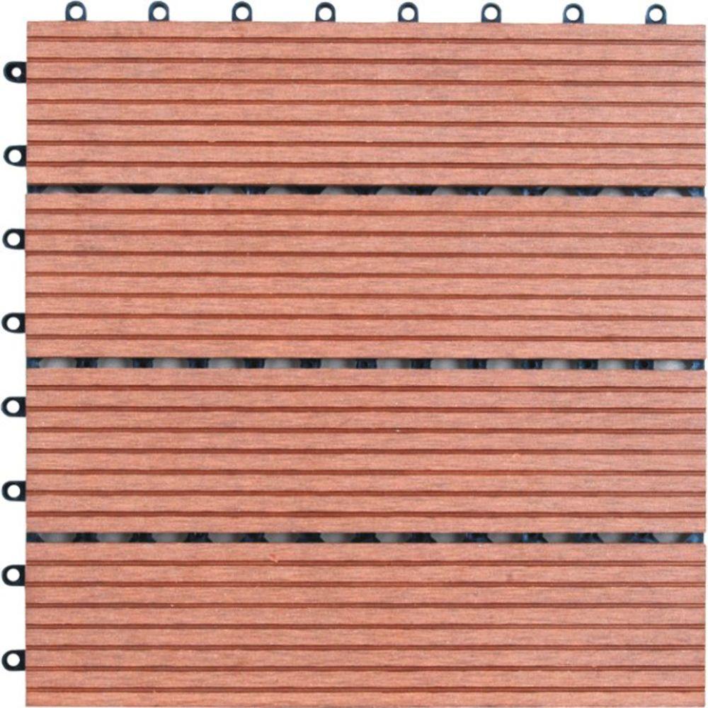 4-Slat 1 ft. x 1 ft. Composite Deck Tile in Dark Tan (11 per Case)