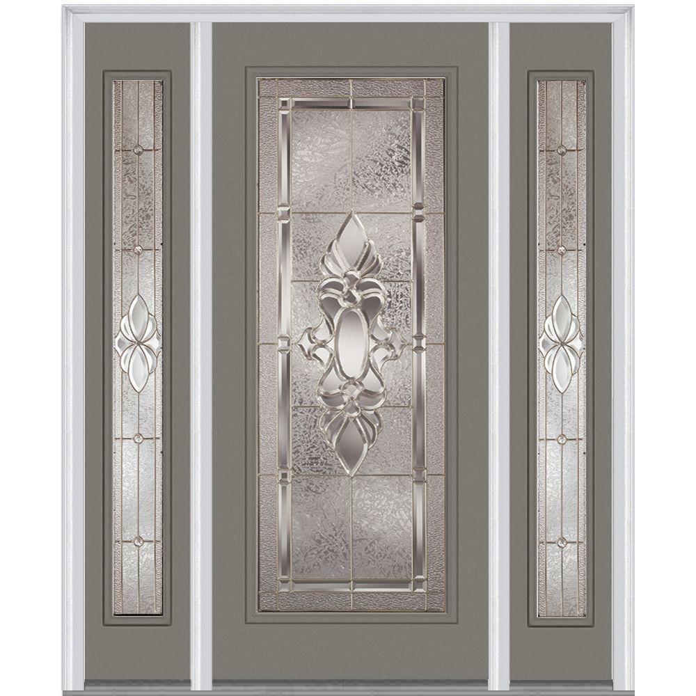 Milliken Millwork 64 in. x 80 in. Heirloom Master Deco Glass Full Lite Painted Builder's Choice Steel Prehung Front Door with Sidelites