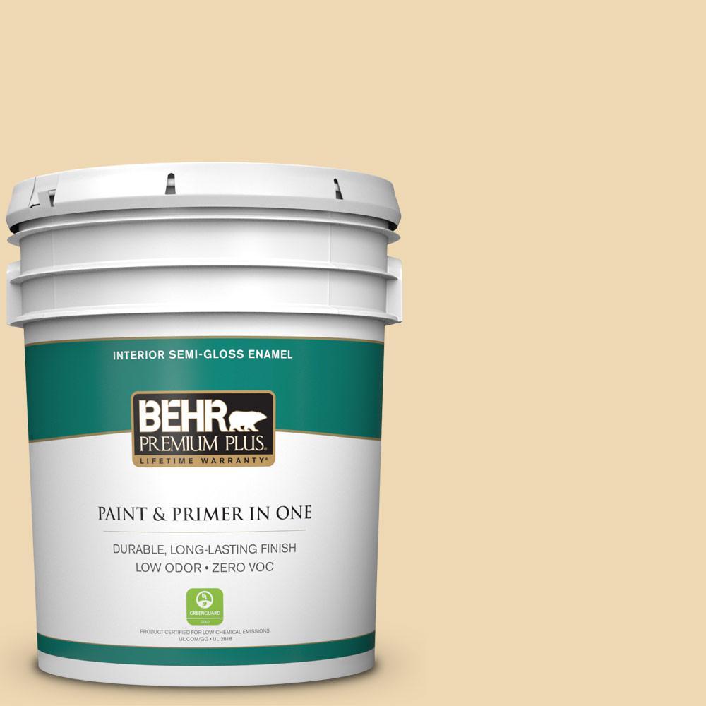 BEHR Premium Plus 5 gal. #340E-3 Bavarian Cream Semi-Gloss Enamel Zero VOC Interior Paint and Primer in One