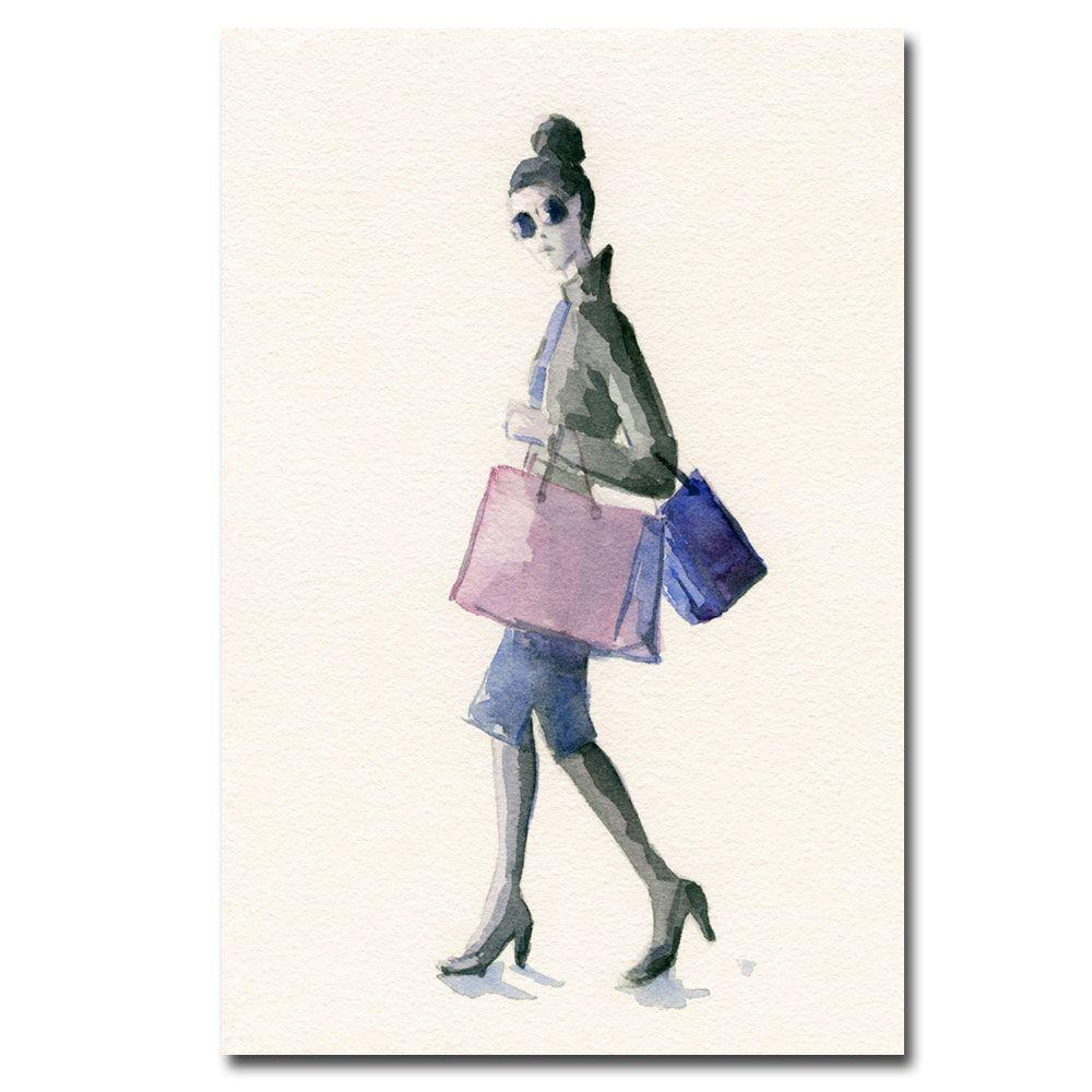 null 22 in. x 32 in. Woman Shopping Purple and Black Canvas Art-DISCONTINUED