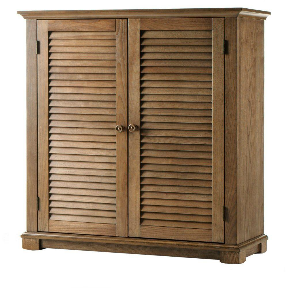 Home Decorators Collection Shutter Weathered Oak Shoe Storage With 2 Doors 35 In W 1158010930 The Depot
