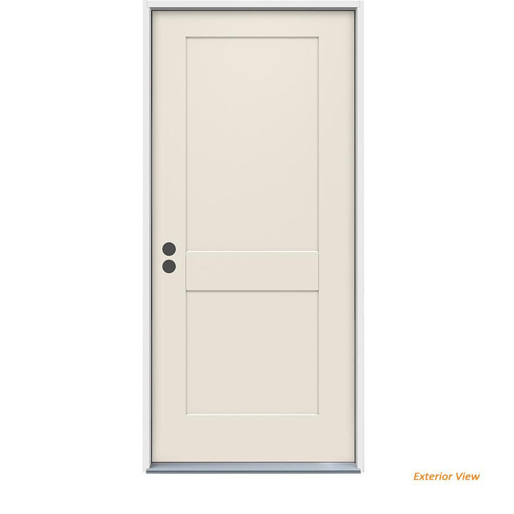 36 in. x 80 in. 2-Panel Craftsman Primed Steel Prehung Right-Hand Inswing Front Door