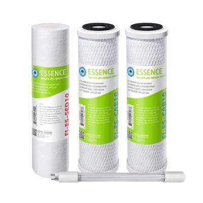 Essence ROES-UV75-SS Replacement Water Filter Cartridge Pre-Filter Set with UV Bulb Stage 1-3 and  5