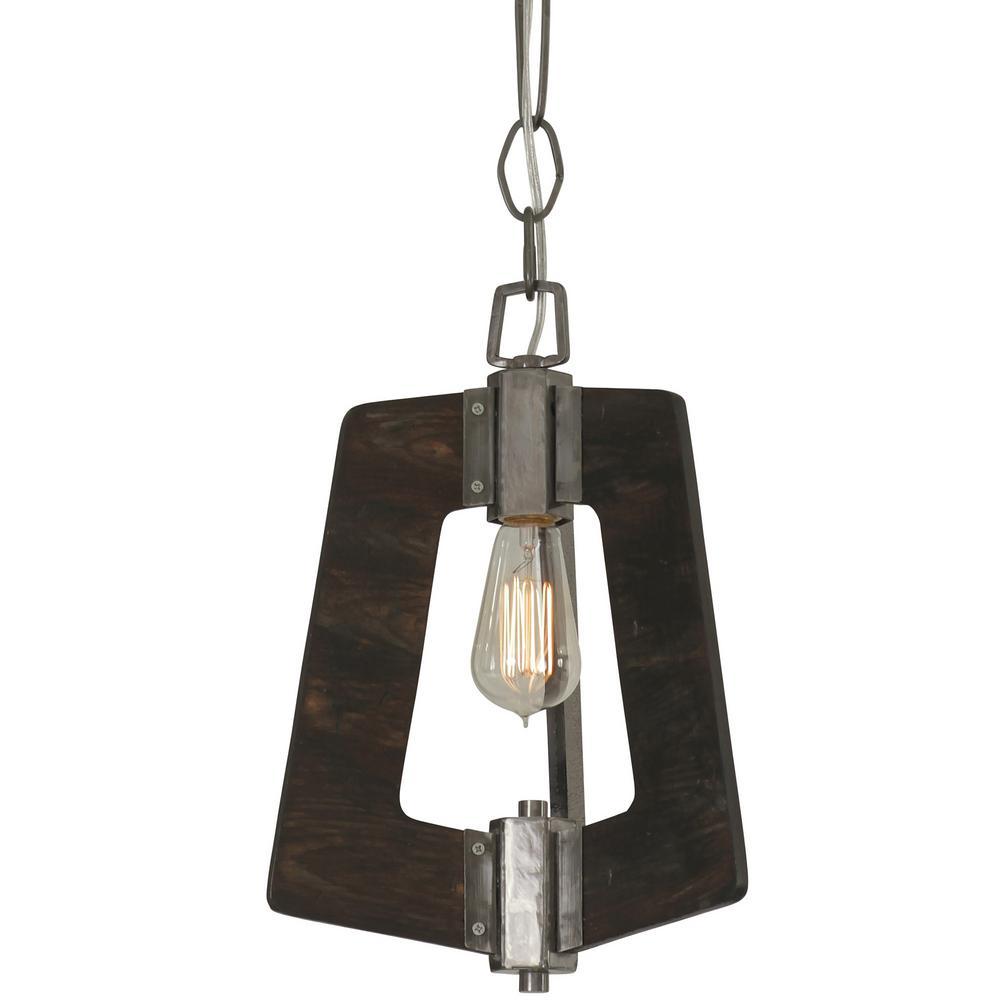 Lofty 1-Light Faux Zebrawood and Steel Mini Pendant