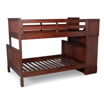 Aspen Rustic Cherry Bunk Bed with Stairs