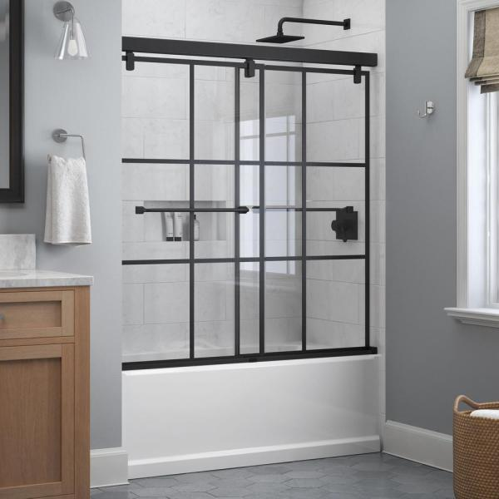 Everly 60 in. x 59-1/4 in. Mod Semi-Frameless Sliding Bathtub Door in Matte Black and 1/4 in. (6mm) Ingot Glass