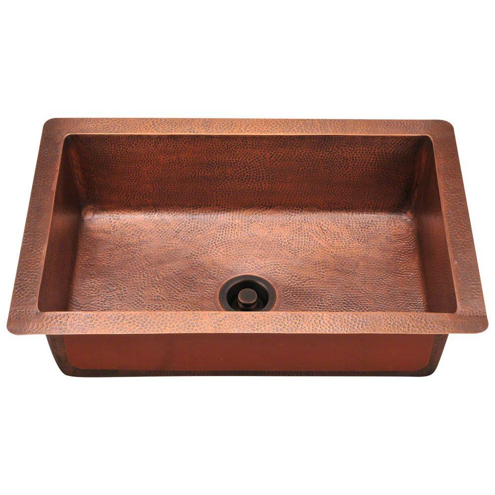 Polaris Sinks Undermount Copper 33 In Single Bowl Kitchen Sink P309 The Home Depot
