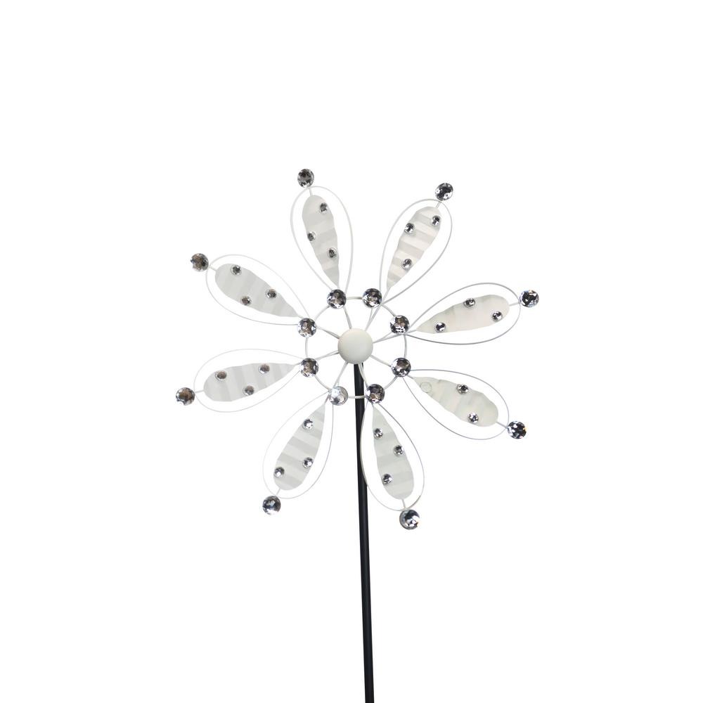84 in. White Metal Flower Garden Stake
