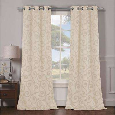 Semi-Opaque Lewis 84 in. L Grommet Panel in Champagne (2-Pack)
