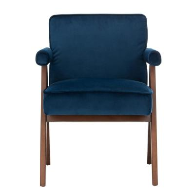 Suri Navy/Walnut Accent Chair