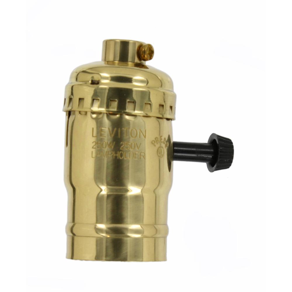 250W Medium Base 2-Circuit Turn Knob Brass Shell Incandescent Lampholder (For 3-Way Lamps), Brass