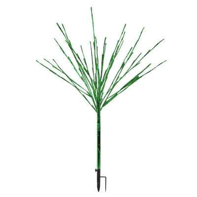 24 in. x 24 in. x 39 in. Silver Taped Bush with Green LED Lights, Indoor and Outdoor