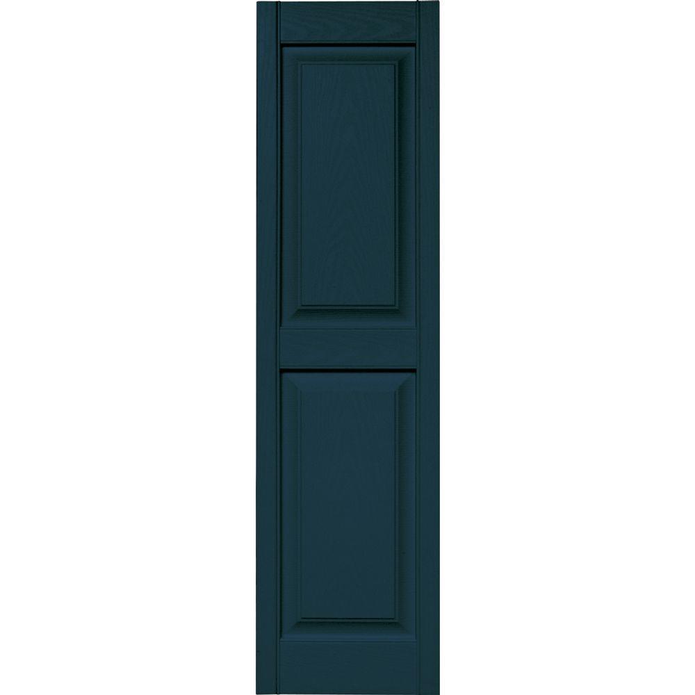Builders Edge 15 in. x 55 in. Raised Panel Vinyl Exterior Shutters Pair in #166 Midnight Blue