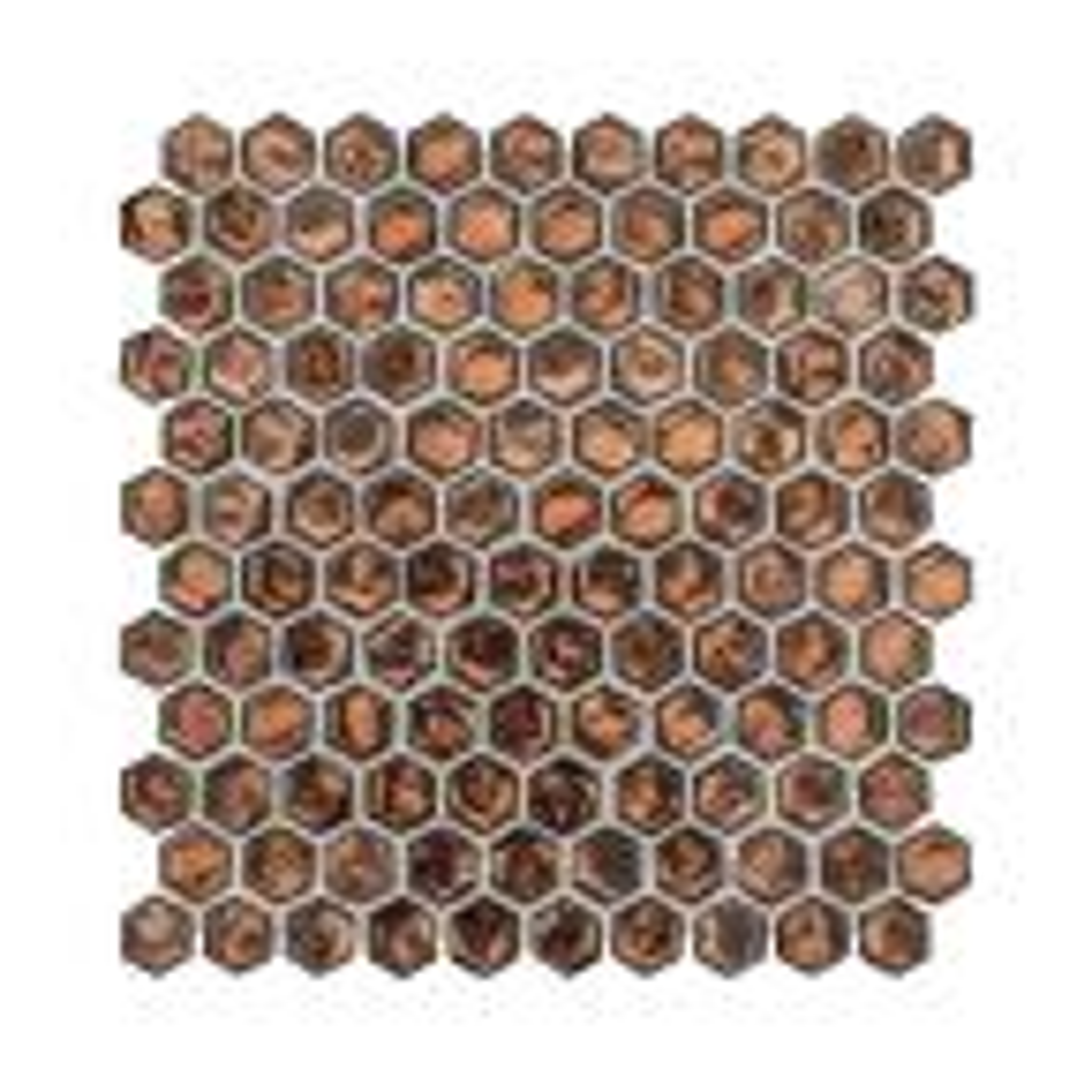 Taj-Mahive 10.875 in. x 11.375 in. x 6 mm Hexagon Glossy Glass Mosaic Tile