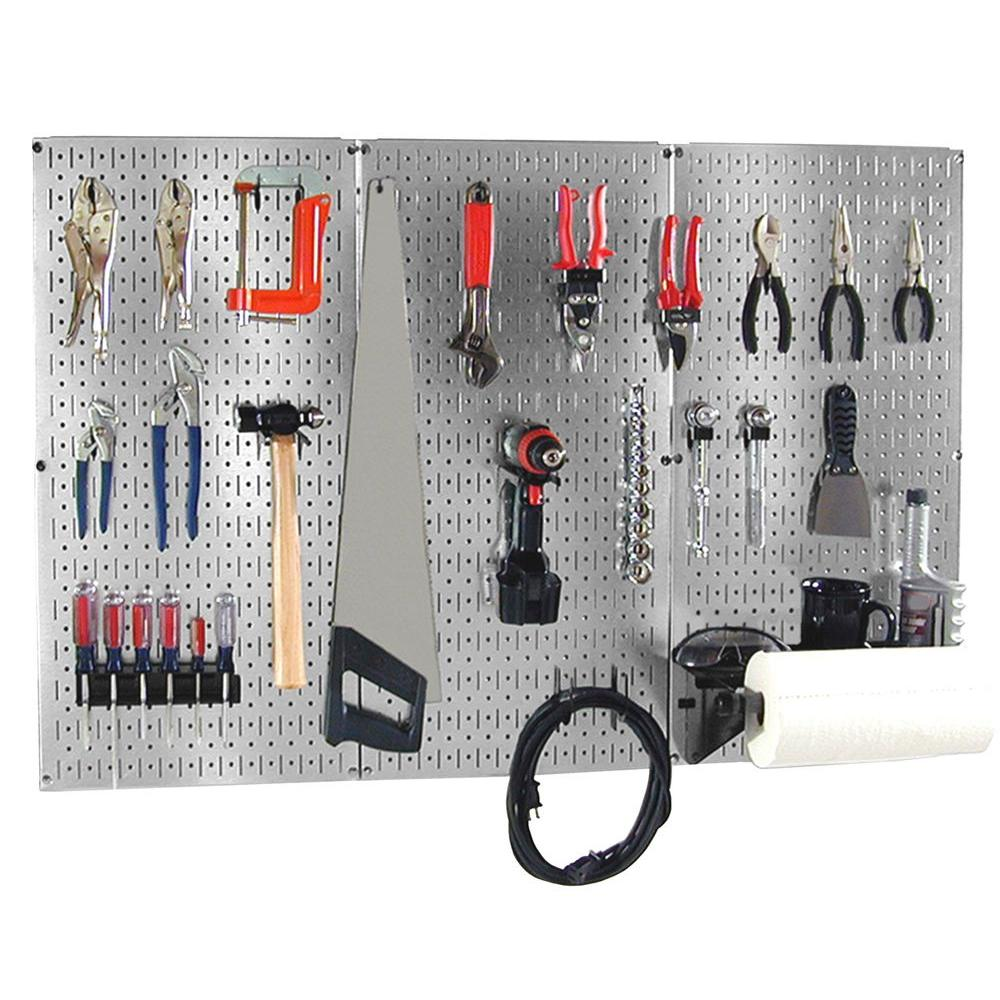 32 in. x 48 in. Shiny Metallic Galvanized Steel Pegboard Basic