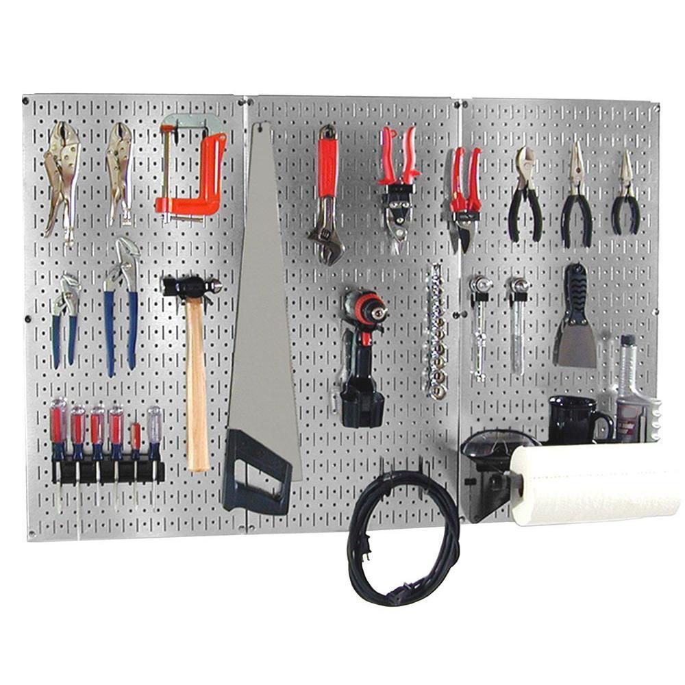 Wall Control 32 inch x 48 inch Shiny Metallic Galvanized Steel Pegboard Basic Tool Organizer Kit with Black... by Wall Control