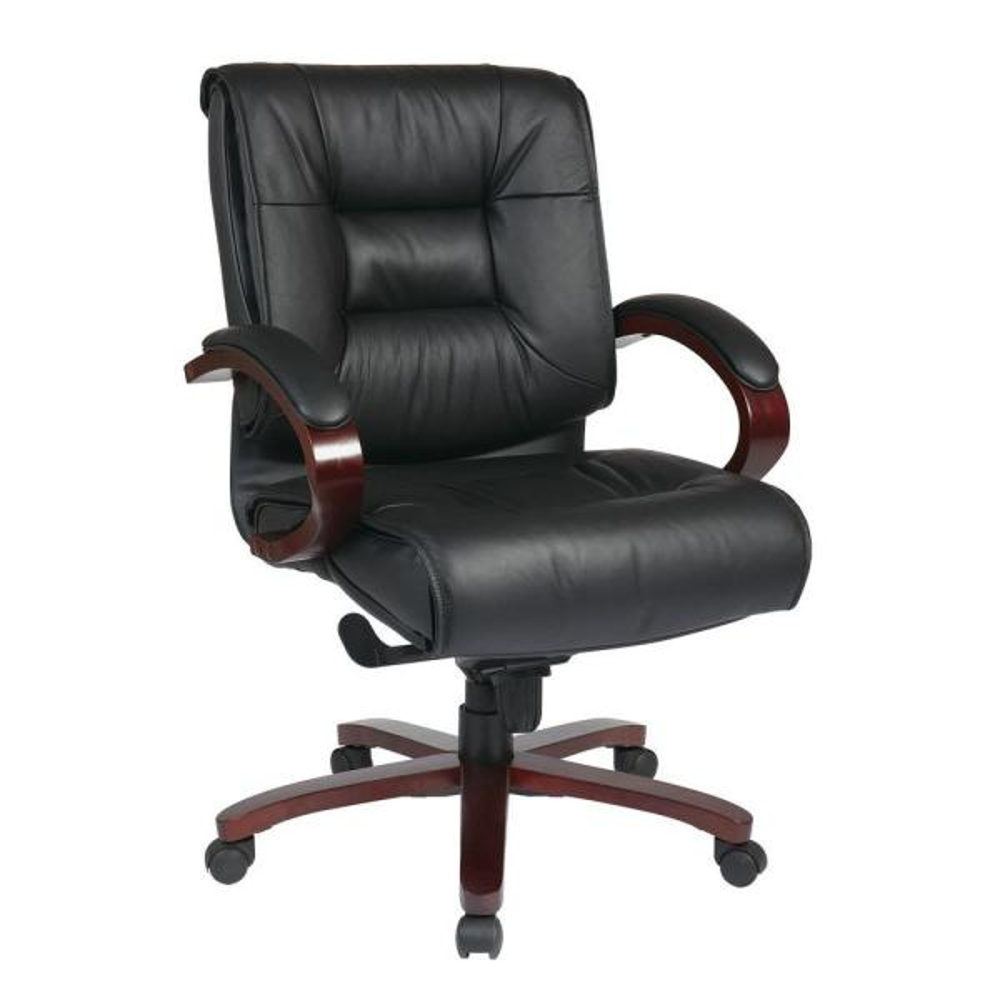 Amazing Black Leather Mid Back Executive Office Chair Spiritservingveterans Wood Chair Design Ideas Spiritservingveteransorg