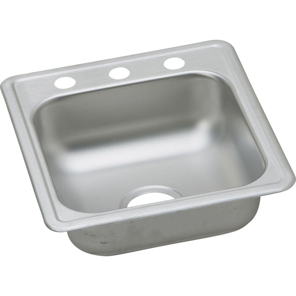 Drop-In Stainless Steel 18.37 in. 3-Hole Single Bowl Bar Sink in