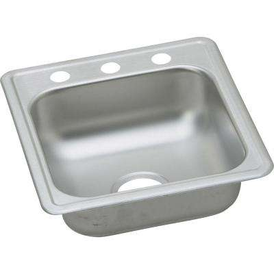 Drop-In Stainless Steel 18.37 in. 3-Hole Single Bowl Bar Sink in Satin