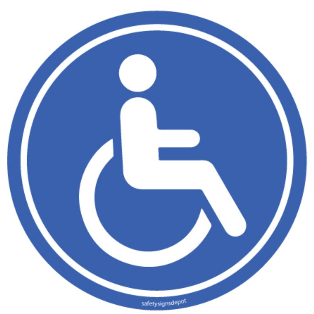 Promodor Disable Handicapped Person Blue Stickers 6 in. Circular Vinyl Decals (4-Pack)