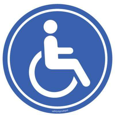 4 in. Circular Vinyl Sticker Disable Person Blue Sticker (4-Pack)