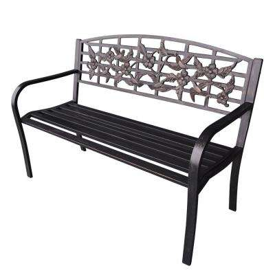 50 in. Flowers and Bird Curved Back Steel Park Bench