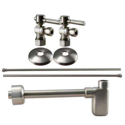 1/2 in. Nominal Compression Lever Handle Angle Stop Complete Pedestal Sink Installation Kit in Satin Nickel
