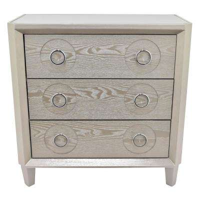 32 in. Champagne Wood Cabinet- 3-Drawers