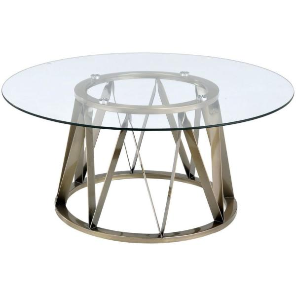 Perjan 40 in. Clear/Gold Medium Round Glass Coffee Table