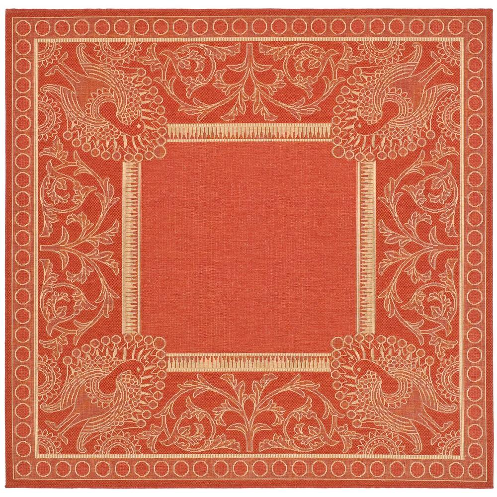 Indoor Outdoor Rugs Square: Safavieh Courtyard Red/Natural 7 Ft. X 7 Ft. Indoor