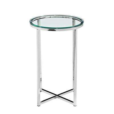 16 in. Glass/Chrome Mid Century Modern X-Base Side Table