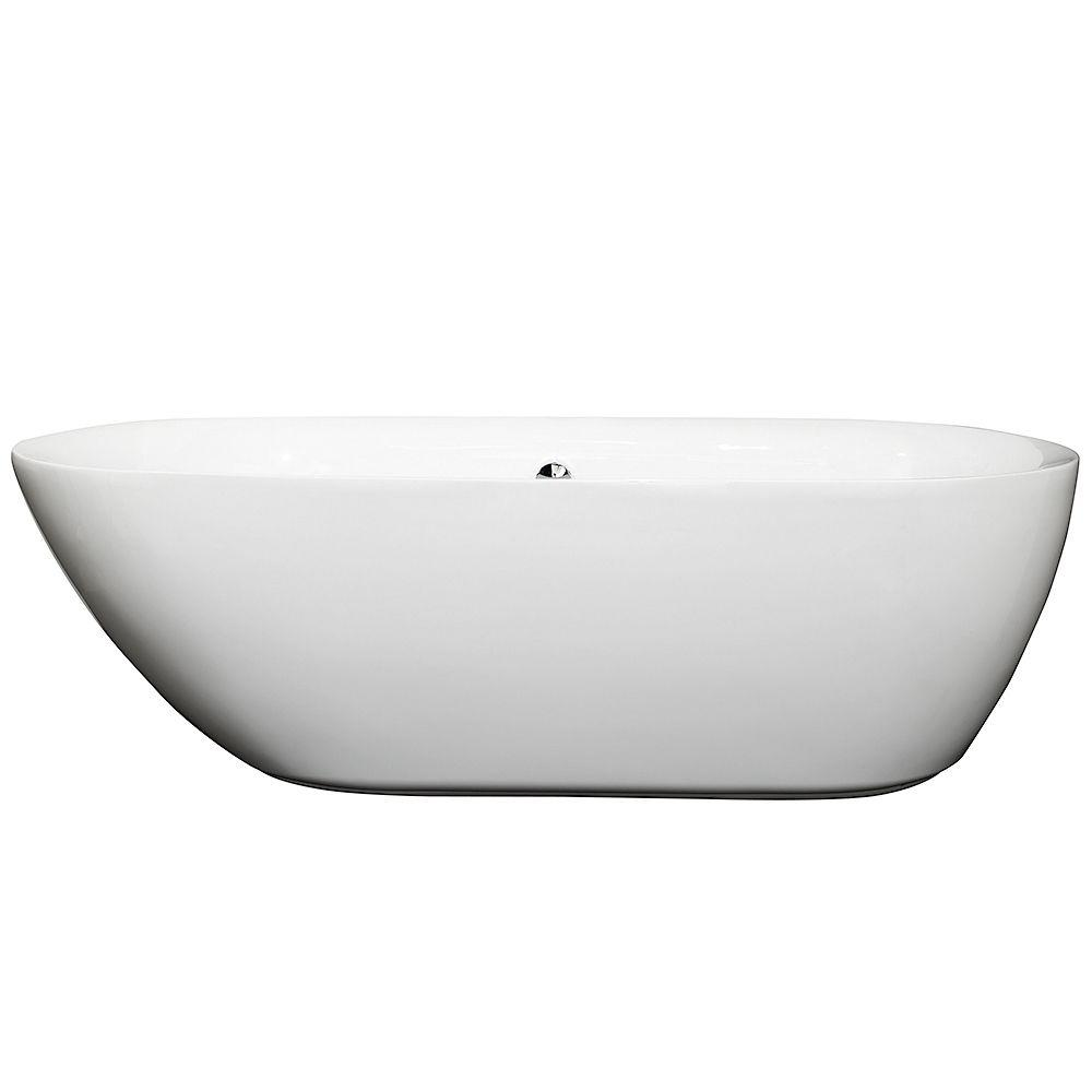 Wyndham Collection Melissa 70.75 in. Acrylic Flatbottom Center Drain Soaking Tub in White