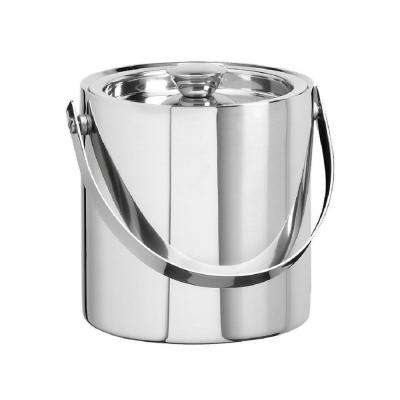 3 Qt. Polished Stainless Steel Brushed Stainless Steel Doublewall Ice Bucket