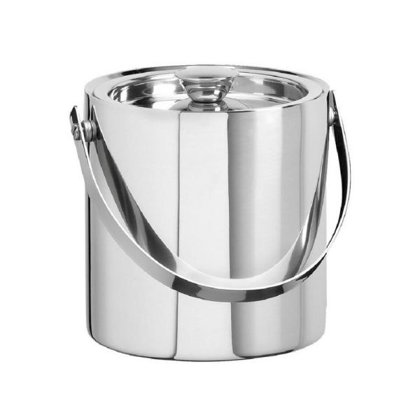Kraftware 3 Qt. Polished Stainless Steel Brushed Stainless Steel Doublewall Ice Bucket