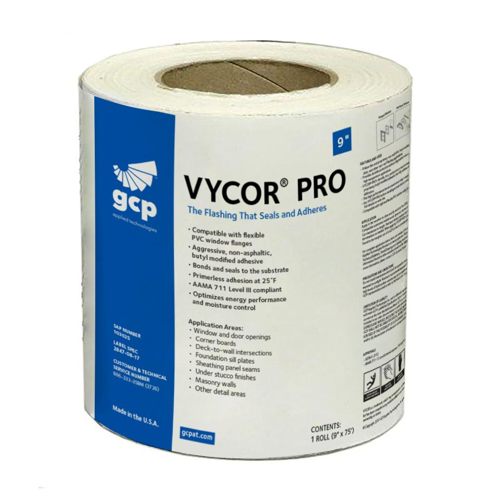 9 in. x 75 ft. Vycor Pro Fully-Adhered Butyl Flashing