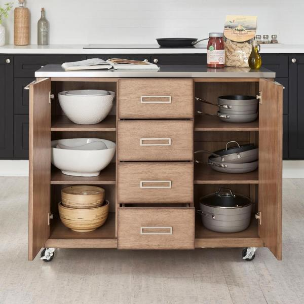 Big Sir Brown Oak Kitchen Cart with Stainless Steel Top