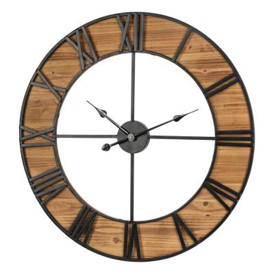 30.00 in. D Oversized Farmhouse Wooden and Metal Wall Clock