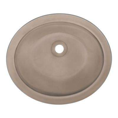 Undermount Glass Bathroom Sink in Taupe