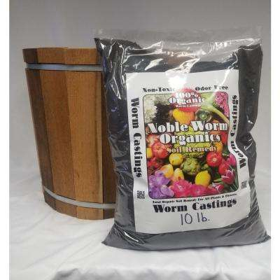 18.5 in. Dia Western Red Cedar Barrel Planter with a 10 lb. Bag of Noble Worm Organic Worm Castings
