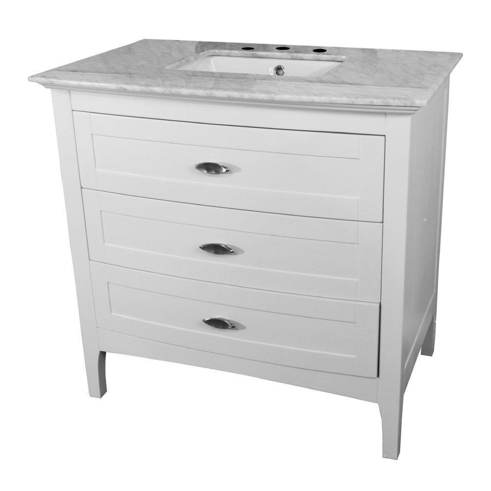 Menifee 36 in. W x 22.3 in. D Single Vanity in White with Marble Vanity Top in White with White Basin