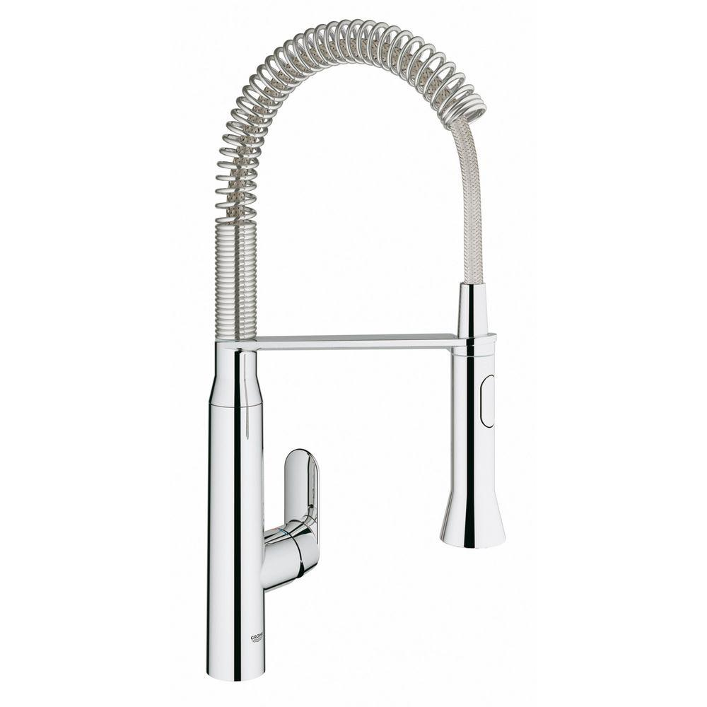 GROHE K7 Medium Single Handle Pull Down Sprayer Kitchen Faucet With Foot  Control In StarLight Chrome 30314000   The Home Depot
