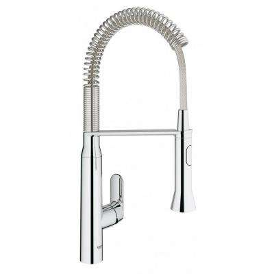 K7 Medium Single-Handle Pull-Down Sprayer Kitchen Faucet with Foot Control in StarLight Chrome