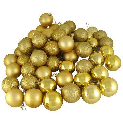 Vegas Gold Shatterproof 4-Finish Christmas Ball Ornaments (24-Count)