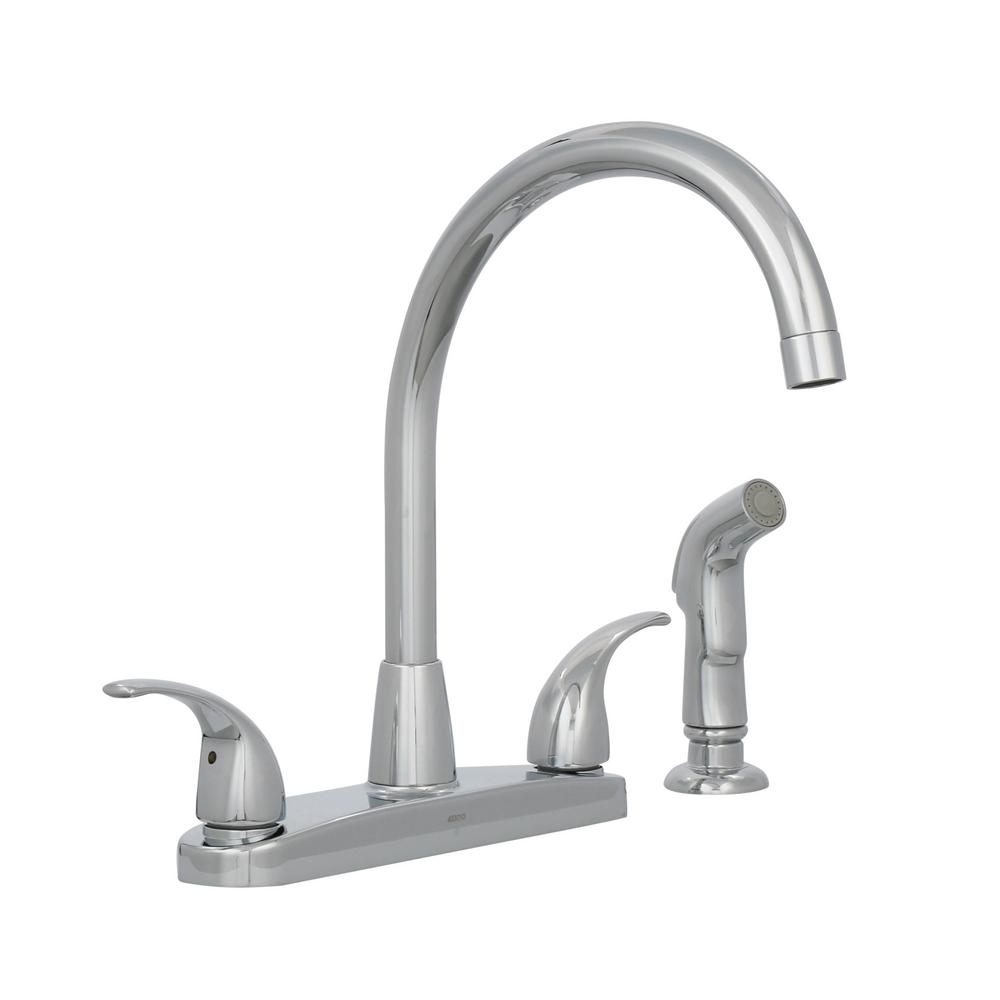 Kitchen Sink Faucet W/ Side Sprayer Chrome Two Handles