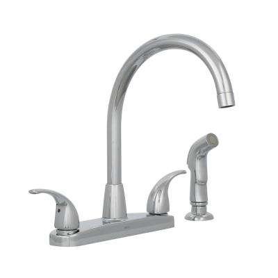 Choice 2-Handle Standard Kitchen Faucet with Side Sprayer in Chrome